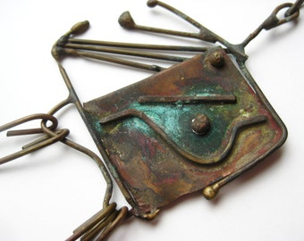 Vintage 50s Abstract Mid Century Modernist Freeform Bronze Pendant Necklace