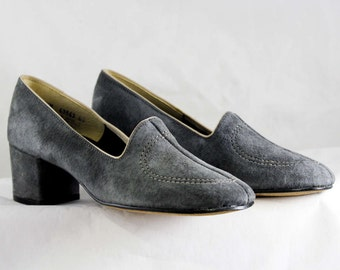 Size 6.5 Shoes - Gray Suede 1970s Pumps - Grey 70s Heels - Nice Quality - Sophisticated Hush Puppies - 70's Deadstock - Size 6 1/2 M - 47002