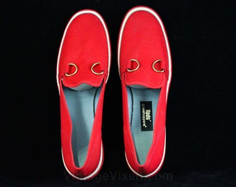 Size 10 Deck Shoes - Classic Casual 90s Red Slip On Narrow Shoe - Braided Jute - 1990s Keds Grasshoppers - 1991 Deadstock - 10N - 47063-1