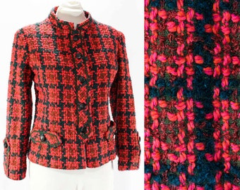 Size 10 Tweed Jacket - Late 1950s Coral Orange & Navy Boucle Wool - Medium - 50s 60s Mid Century Chic - Ladies Who Lunch - Bust 36 - 45850