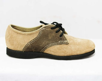 Size 6 Toddler Boys Saddle Shoes - Authentic 1960s Brown Two Tone Suede Oxfords - Child Size 6M - Boy's 60s Deadstock in Box - 45947-1