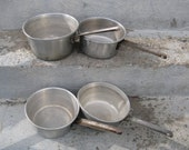 vintage mirro aluminum saucepan collection set of 4 rustic country cabin decor