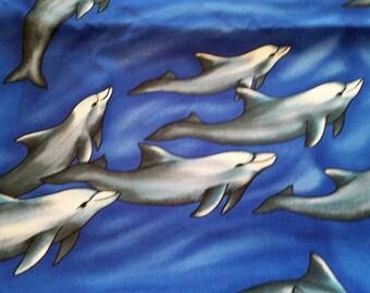 Dolphins Novelty Cotton Fabric 2 Yards Porpoises  X0594
