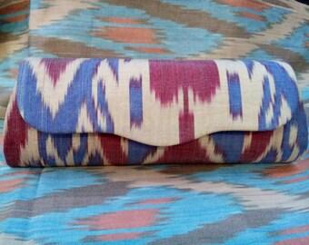 Uzbek silk ikat clutch