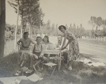 Vintage French Photograph - A Picnic by the Roadside