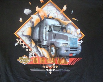 NOS Vintage 80's 3D Emblem Truckers Only On the road again 1988 Biker Trucker NEW 1987 Deadstock T Shirt L