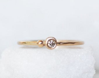 Skinny Brown Diamond Stacking Ring - 1.3mm 14k OR 18k Gold Seed Stacking Ring - Eco-Friendly Recycled