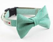 Green Seersucker Bow Tie Dog Collar