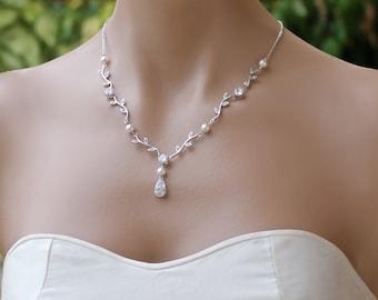 Vine Bridal Necklace,  Crystal Vine Wedding Necklace,  Vine Wedding Jewelry, Bridesmaid Necklace VINE