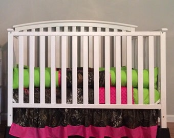 Camo Mossy Oak with lime & pink baby Crib Bedding Set with Minky Dots and FREE Monograms