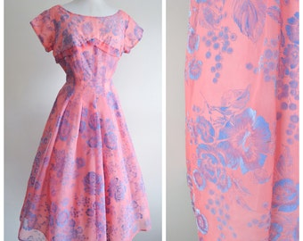 1950s Pink & blue organdy printed full dress / 50s sheer party dress - M