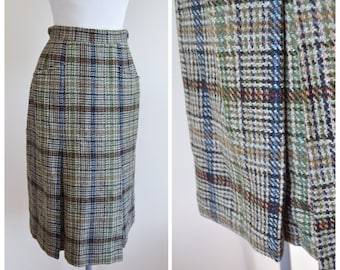 1950s Check wool pleated skirt / 50s plaid checked day skirt, Daks label - S