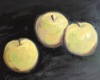 """Original Oil Painting """"Golden Deliciousness"""" • 10 x 8 Oil on Wood Panel • Daily Painting Series"""