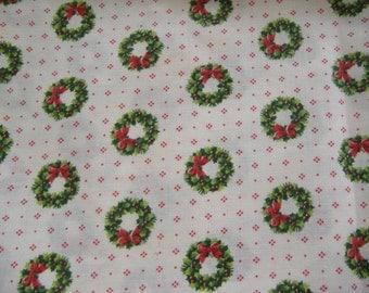 One Yard Cotton Christmas Wreath Fabric, Cranston Print Works