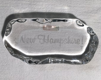 "Fostoria 'New Hampshire' Glass Paperweight, USA 1980s - [Size- 5 1/2"" x 2 1/2"" x 1/2"", Color- Clear Vintage]"
