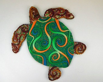 Crazy Stripe Sea Turtle Polymer Clay Wall Art or Clock 3D in Green, Brown, and Orange