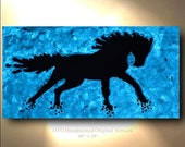 GLOW in the Dark Paint with Light Horse on Canvas Decor Art Oil Original Artworks White Arabian Stallion Equestrian animal by OTO