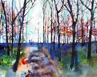 Original Mixed Medium Painting Winter Trees