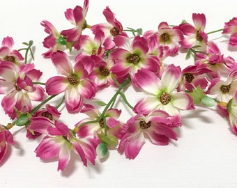 Silk Flowers - 24 FUCHSIA PINK Baby Cosmos - Artificial Flowers, Flower Crown, Millinery
