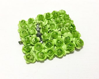 Paper Flowers - 36 Tiny LIME GREEN Paper Roses for Scrapbooking, Favors, Wedding Invitations, Paper Crafting