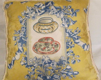 French Country Romantic Cottage Pillow Yellow Provence Blue Check Teacup Afternoon Tea