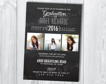 Printable Typography Graduation Photo Invitation