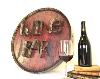 Barrel Head and Ring Art - WINE BAR - Authentic Wine Barrel Head Sign / Napa Style / Unique Wall Art / Home Decor / Tasting Room