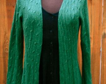 vintage green long cardigan
