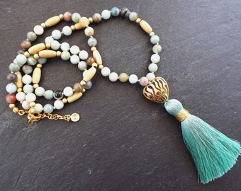 Long Beaded Tassel Necklace Gypsy Jewelry Hippie Bohemian Artisan -  Pale Aqua Amazonite Gemstone & Wooden Beads