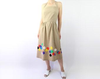 VINTAGE Sundress Cotton 1960s Fish Print