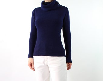 VINTAGE Navy Turtleneck Knit Sweater