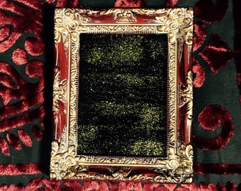Petite Black Scrying Mirror with Gold Glitter in Burgundy and Gold Frame