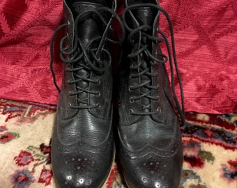 Vintage Black Leather Ankle Boots Size 7