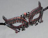 Black and Red Metallic and Rhinestone Filigree Masquerade Mask - Halloween Mask