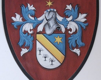 Custom Family Crest Plaque  - Coat of Arms Painting on Shield 20 x 24 Heraldry art