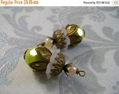 sale BD451 VINTAGE Style capped pendant dangle Iridescent Spring Green Acrylic Retro Bead with stacked aged beadcaps and faux Pearl 2 pcs.