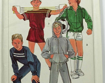 Size Boys 7 8 10 Simplicity 7020 Athletic Casual Wardrobe Jacket Pullover Tops Pants Shorts Retro Vintage 1980s 80s Uncut Sew Sewing Pattern