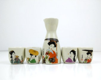 Vintage Geisha Girl Sake Set / Pitcher and glasses / Asian barware