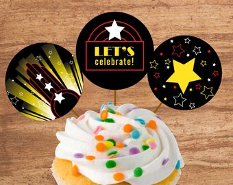 Instant Download Movie Party Cupcake Toppers or Craft Circles
