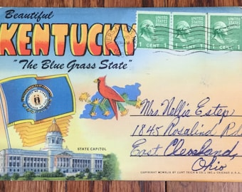 Vintage Souvenir of Kentucky Fold-Out Post Card Booklet Beautiful Kentucky The Blue Grass State Linen Post Cards