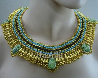 Egyptian Queen Cleopatra Necklace 5 Scarabs Mega Sale