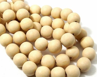 Unfinished Whitewood, 14mm - 15mm, Unbleached, Round, Natural Wood Beads, Smooth, Large, 16 Inch Strand - ID 2177