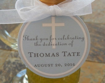"Baby Dedication Custom Thank You Tags - For Mini Wine Bottles - Cake Pops - Cookies - Party Favors - (50) 2"" Pink or Blue Gift Favor Tags"