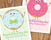 Donut Valentine Printable Cards, Doughnut Valentines, Boy and Girl Donut, Classroom Valentine, Card Template, Please Donut Say No Valentines