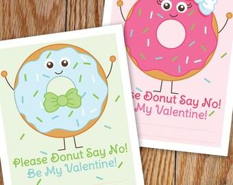 Donut Valentine, Printable, Classroom Valentine, Kids Valentine, School Valentine, Teacher Valentine, Donut Party Favor Tags