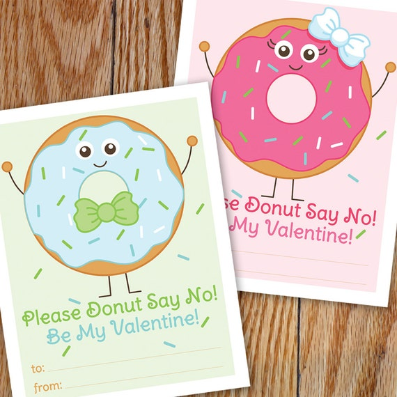 Donut Valentine Printable Cards Doughnut Valentines Boy and Girl