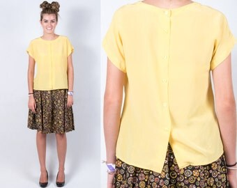 Vintage Yellow Silk Shirt w/ Tucks in Front & Buttons Down Back * Vintage Simple Sweet Girly Blouse Top * Size Medium * FREE SHIPPING