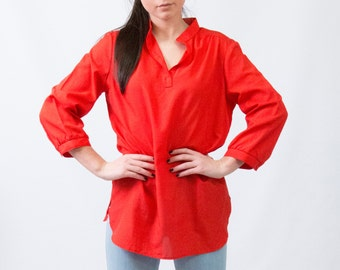 """Vintage Tomato Red Tunic Blouse by """"Ship N' Shore"""" * Classic Americana Three Quarter Sleeve Blouse * Size Medium Large * FREE SHIPPING"""