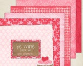 Valentines Day Be Mine Theme Digital Paper and Elements Kit birthday party celebration wedding shower invitation heart princess scrapbook