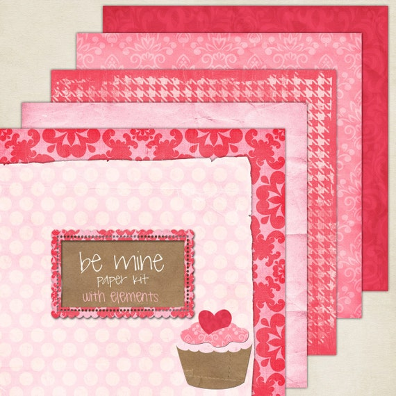 Valentines Day Be Mine Theme Digital Paper And Elements